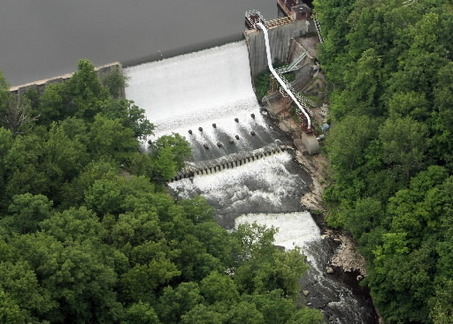Nice aerial view of the dam at the Gorge Metro Park in Akron.